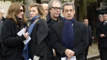 Les soeurs Valeria et Carla Bruni, avec Nicolas Sarkozy à l'enterrement du metteur en scène Luc Bondy.