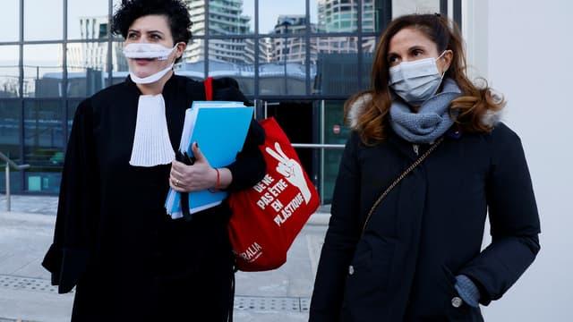 Coline Berry-Rojtman et son avocate, le 11 février 2021.