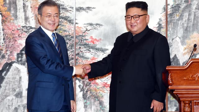 Moon Jae-in et Kim Jong-un à Pyongyang