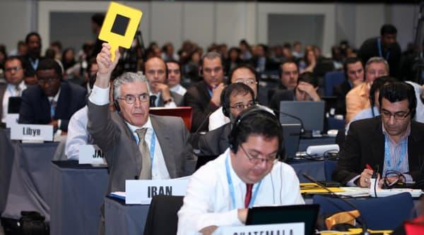 Un délégué iranien pendant la séance de vote à main levée, jeudi 13 décembre.