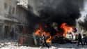 Une des explosions dans le quartier de Tariq al-Bab, à Alep, samedi 1er février. Les raids aériens ont fait 121 victimes en deux jours.