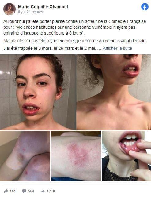 Le message de la comédienne Marie Coquille-Chambel