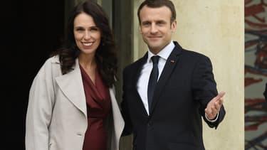 Jacinda Ardern et Emmanuel Macron le 16 avril 2018 à l'Élysée