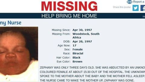 Zephany a été kidnappée en avril 1997 à la maternité du Cap en Afrique du Sud  alors que sa mère était endormie, la fillette n'avait que trois jours.