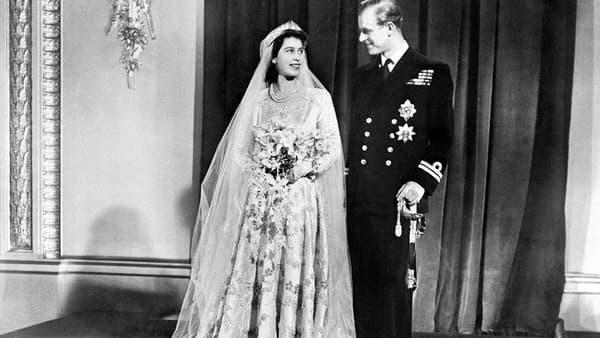 Le mariage d'Elizabeth avec Philip Mountbatten, en 1947.