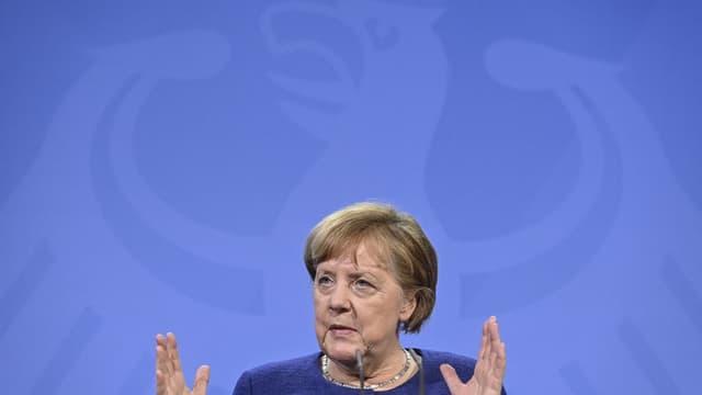 La chancelière allemande Angela Merkel le 25 février 2021 à Berlin.