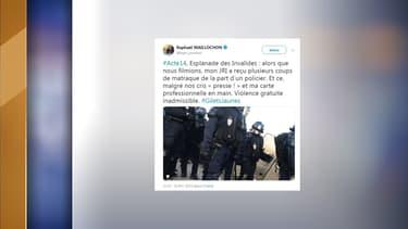 Un JIR de BFMTV a été victime de coups de matraque d'un policier, ce samedi, lors de la 14e journée de mobilisation nationale des gilets jaunes