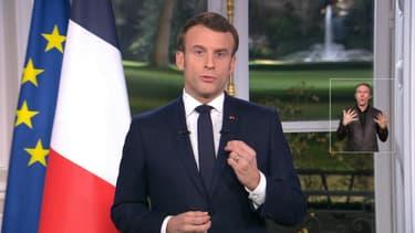 Emmanuel Macron lors de ses voeux aux Français