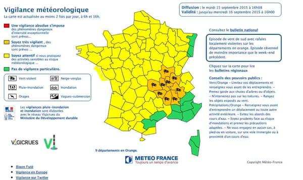 Neuf départements sont concernés par une vigilance orange.