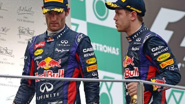 Mark Webber et Sebastian Vettel sur le podium