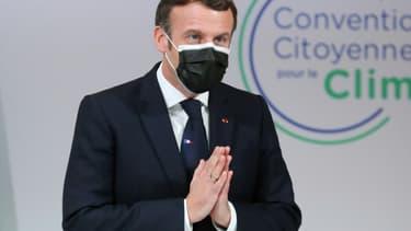 Rencontre entre Emmanuel Macron et les citoyens de la Convention climat en novembre 2020 à Paris