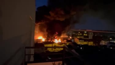 Aubervilliers : violent incendie dans un entrepôt - Témoins BFMTV