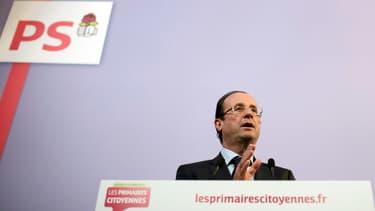 François Hollande le 19 octobre 2011 à Paris, lors d'une conférence de presse sur les primaires au PS.