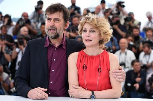 "Nanni Moretti et Margherita Buy Nanni Moretti le 16 mai 2015 à Cannes pour la présentation du film ""Mia Madre"""