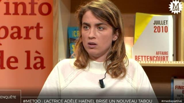 L'actrice Adèle Haenel ce lundi 4 novembre à Médiapart.