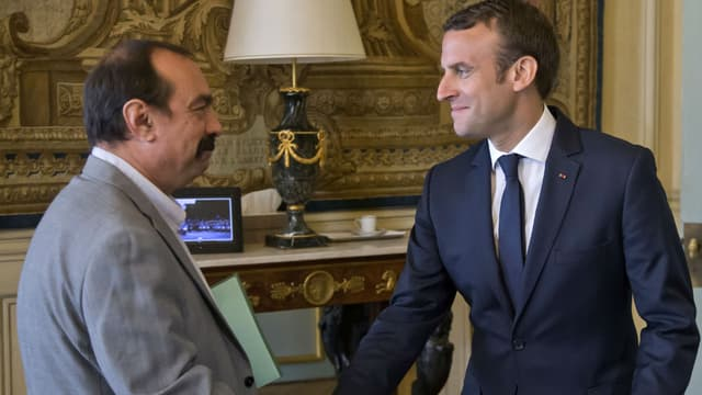 Philippe Martinez, le secrétaire général de la CGT, et Emmanuel Macron.