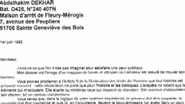 La lettre adressée en 1995 par Abdelhakim Dekhar, au juge en charge de l'affaire Rey-Maupin.