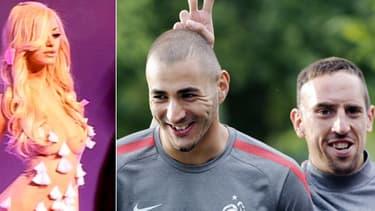 """Le procès de """"l'affaire Zahia"""", scandale qui avait éclaté peu avant la coupe du Monde 2010, s'ouvre mardi à Paris. Ici Zahia Dehar, Karim Benzema et Franck Ribéry"""
