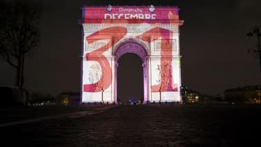 L'Arc de Triomphe, à Paris, le 31 décembre 2017