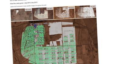 Une animation montre la progression de l'étalement du camp à mesure que les mois ont passé