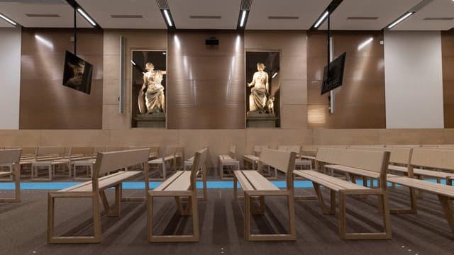 La salle construite au tribunal de Paris pour accueillir le procès des attentats du 13-Novembre.
