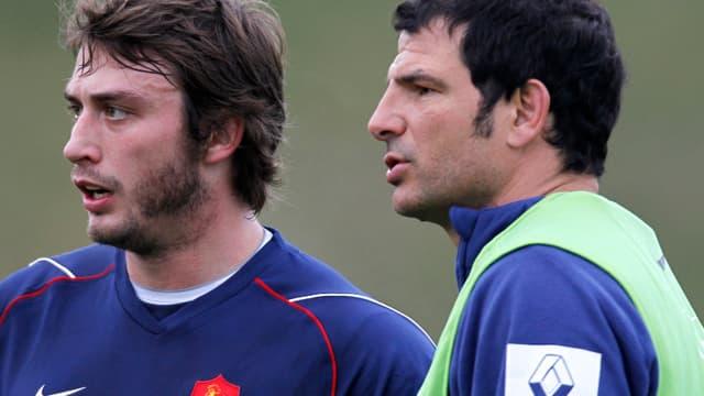 Marc Lièvremont aux côtés de Maxime Médard