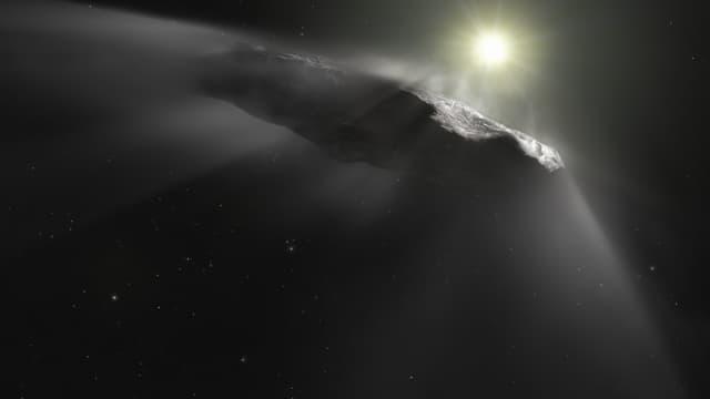 Vue d'artiste de l'objet interstellaire Oumuamua, qui a été découvert traversant notre système solaire fin 2017.