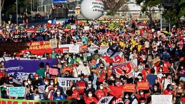Manifestation en opposition au président brésilien Jair Bolsonaro, le 24 juillet 2021 à Brasilia (Brésil)