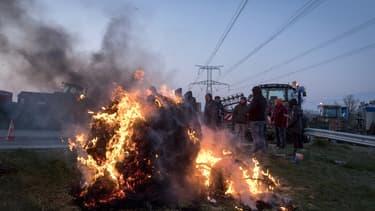 Les agriculteurs, le 7 février, sur le périphérique toulousain.