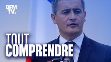 Le nouveau ministre de l'Intérieur, Gérald Darmanin, lors d'un déplacement dans un commissariat des Mureaux (Yvelines), le 8 juillet 2020.