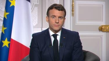 Emmanuel Macron lors de ses vœux du 31 décembre.