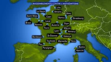 Carte non exhaustive des rassemblements contre l'antisémitisme mardi 19 février 2019 en France.