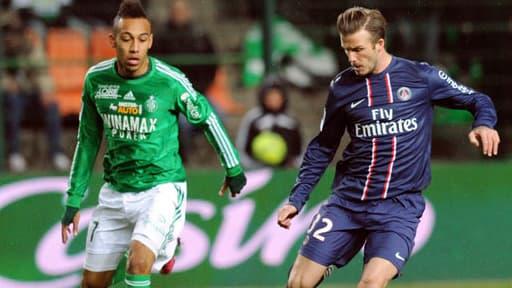 Pierre-Emerick Aubameyang et David Beckham lors du match AS Saint-Etienne-PSG, le 17 mars 2013.