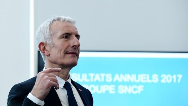 Le patron de la SNCF, Guillaume Pepy, lors de la présentation des résultats du groupe à Saint-Denis.