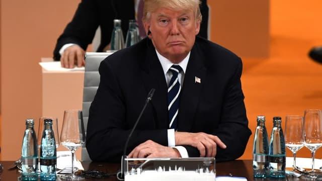 Le président des Etats-Unis Donald Trump lors d'une session de travail au G20 à Hambourg (Allemagne) le 07 juillet 2017