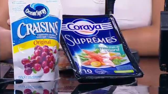 Deux des produits épinglés par Foodwatch.