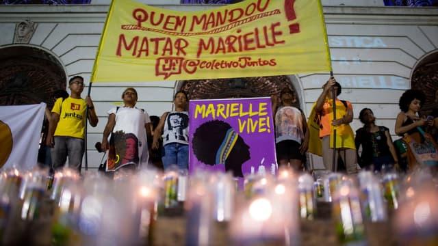 Une manifestation pour les 600 jours de l'assassinat de la conseillère municipale Marielle Franco, le 1er novembre 2019 à Rio de Janeiro