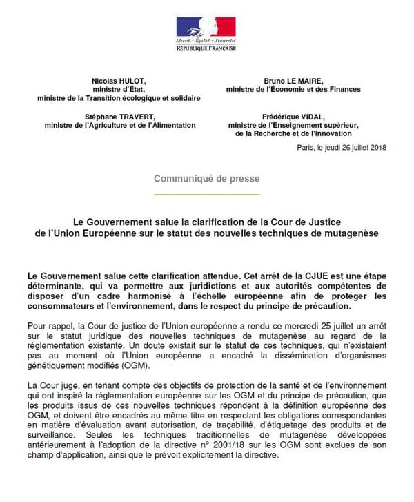 La France saluant la décision de la CJUE le 26 juillet 2018.
