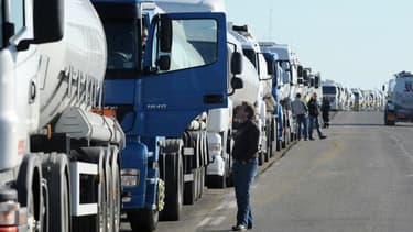Une cinquantaine de routiers bloquaient mardi 21 novembre l'entrée du tunnel du Fréjus à l'appel de plusieurs syndicats. (image d'illustration)