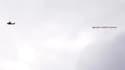 La banderole au dessus d'Old Trafford concernant les accusations contre Cristiano Ronaldo