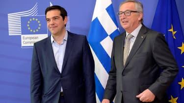 Aelxis Tsipras et Jean-Claude Juncker mercredi soir