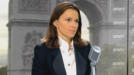 Aurélie Filippetti  au micro de Jean-Jacques Bourdin mardi sur BFMTV et RMC.