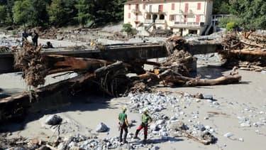 Dégâts provoqués les pluies et les crues à Breil-sur-Royal, dans les Alpes-Maritimes, le 5 octobre 2020