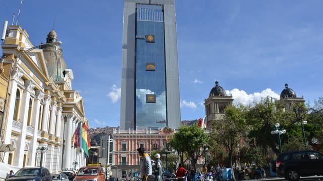 La tour Casa Grande del Pueblo, nouveau siège de la présidence bolivienne à La Paz, inauguré le 8 août 2018.