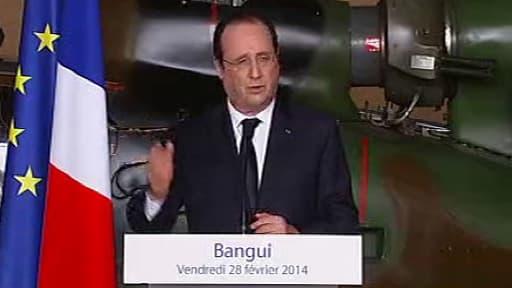 Le président de la République François Hollande à Bangui vendredi 28 février