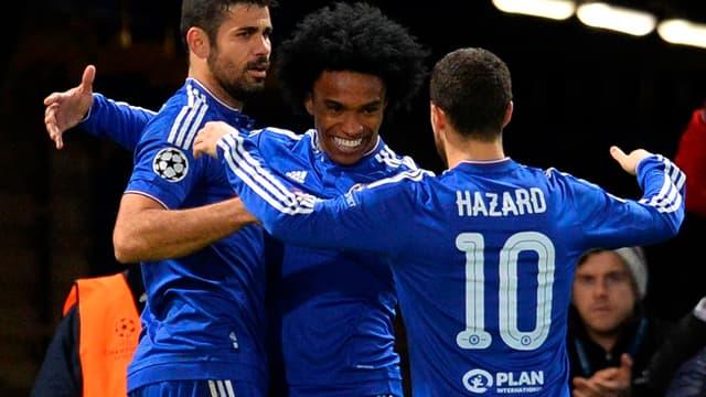 Les joueurs de Chelsea fêtent un de leurs buts contre Porto