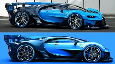 En bas le modèle virtuel de Gran Turismo, en haut la véritable Vision GT sortie des ateliers de Bugatti à Molsheim.