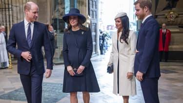 Le prince William, Kate Middleton, Meghan Markle et le prince Harry à Londres en mars 2018