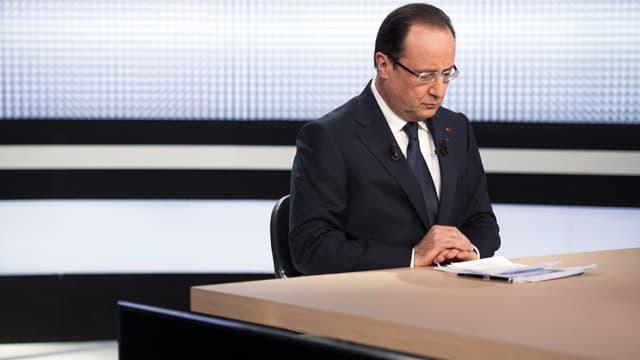 François Hollande lors de son précédent prime-time, sur France 2 le 28 mars 2013.