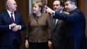 Michel Sapin, Angela Merkel, François Hollande et Sigmar Gabriel réunis à Berlin (Allemangne) le mardi 13 décembre 2016 à l'occasion de la 2e conférence numérique franco-allemande.